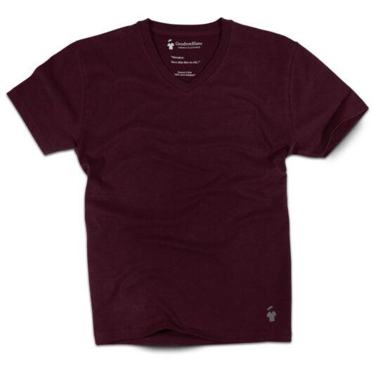 T-shirt col V rouge bourgogne