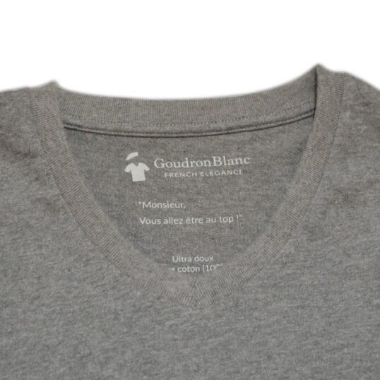 Col V - T-shirt gris béton - GoudronBlanc