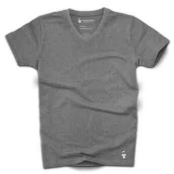 T-shirt gris béton chiné col V - GoudronBlanc