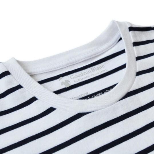 Col rond - T-shirt marinière GoudronBlanc