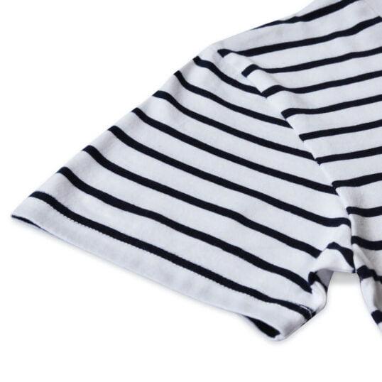 Manche courte - T-shirt marinière GoudronBlanc