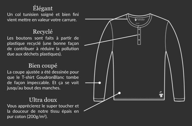 Design henley homme - GoudronBlanc