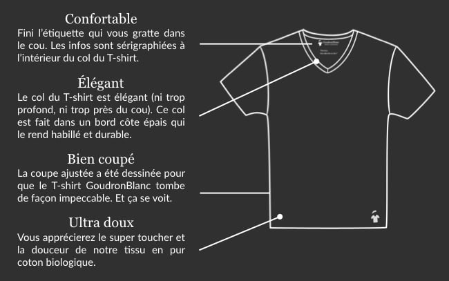 Design T-shirt col V homme - GoudronBlanc