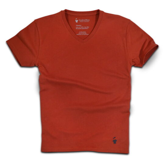 T-shirt col V rouille - GoudronBlanc