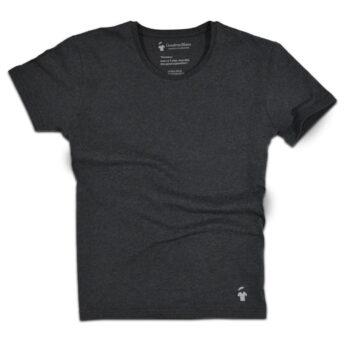 T-shirt gris goudron col rond - GoudronBlanc