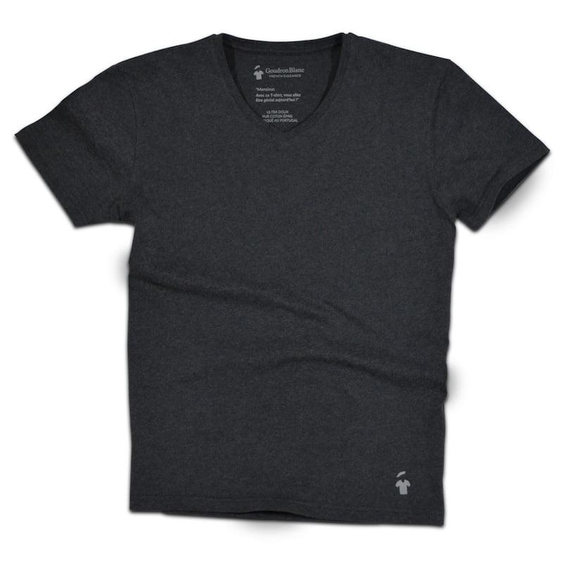 T-shirt col V gris goudron - GoudronBlanc