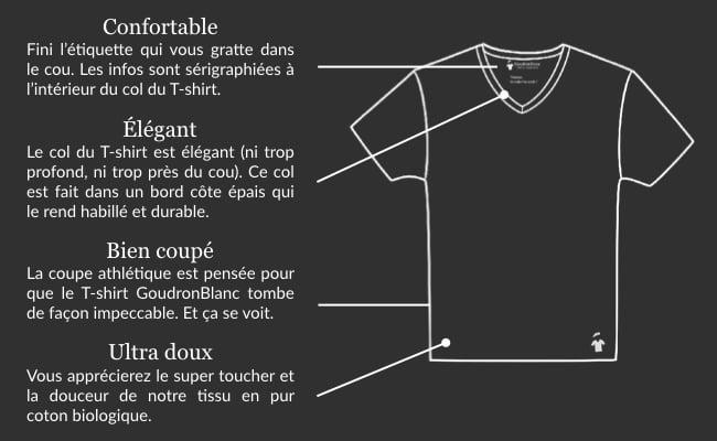 Fiche technique - T-shirt col V GoudronBlanc