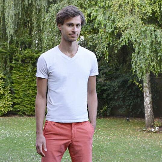 T-shirt col V blanc homme - GoudronBlanc