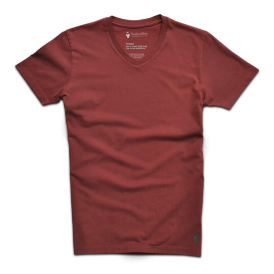 T-shirt col v rouge brique