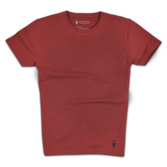 T-shirt rouge brique col rond