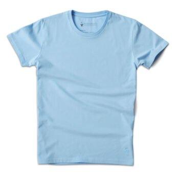 T-shirt col rond bleu glacier