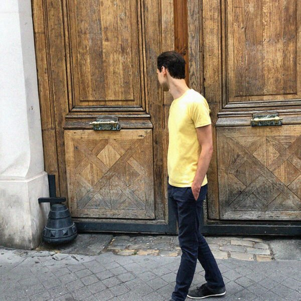 T-shirt jaune zinc de dos - GoudronBlanc