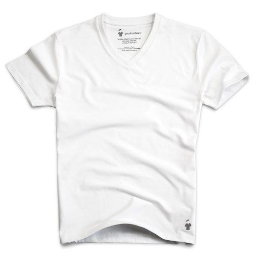 T-shirt en coton bio blanc col V pour homme