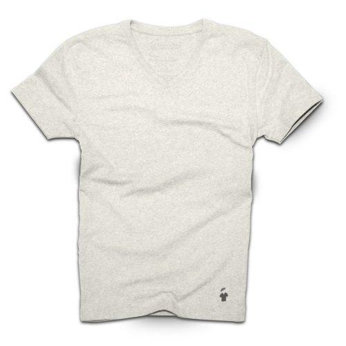 T-shirt col V gris sable - GoudronBlanc - Gris chiné