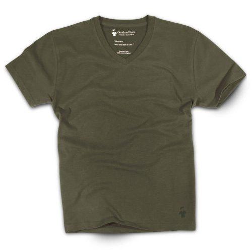 T-shirt col V kaki aviateur